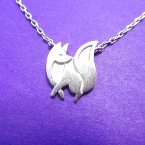 Super Cute Fox Silhouette Shaped Charm Necklace in Silver
