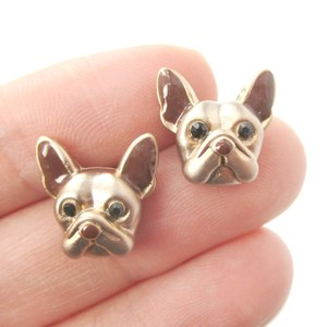Small French Bulldog Shaped Dog Themed Enamel Stud Earrings