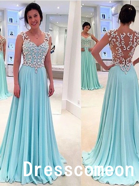New Design White Lace Sky Blue Long Prom Dressesa Line Princess