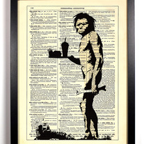 Image of Banksy Cave Man, Vintage Dictionary, 8 x 10
