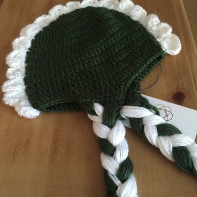 Green and white kids hat