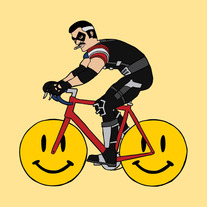 The Comedian riding bike with smiley face wheels, 5x5 print