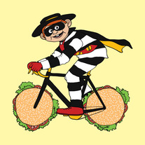 Hamburglar riding bike with stolen hamburger wheels, 5x5 print