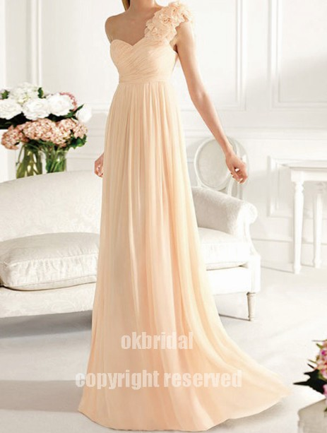 One shoulder bridesmaid dress cheap bridesmaid dress for Cheap champagne wedding dresses