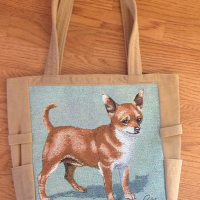 Chihuahua dog on tapestry tote!,