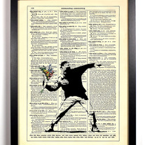 Image of Banksy Flowertov Cocktail, Vintage Dictionary, 8 x 10