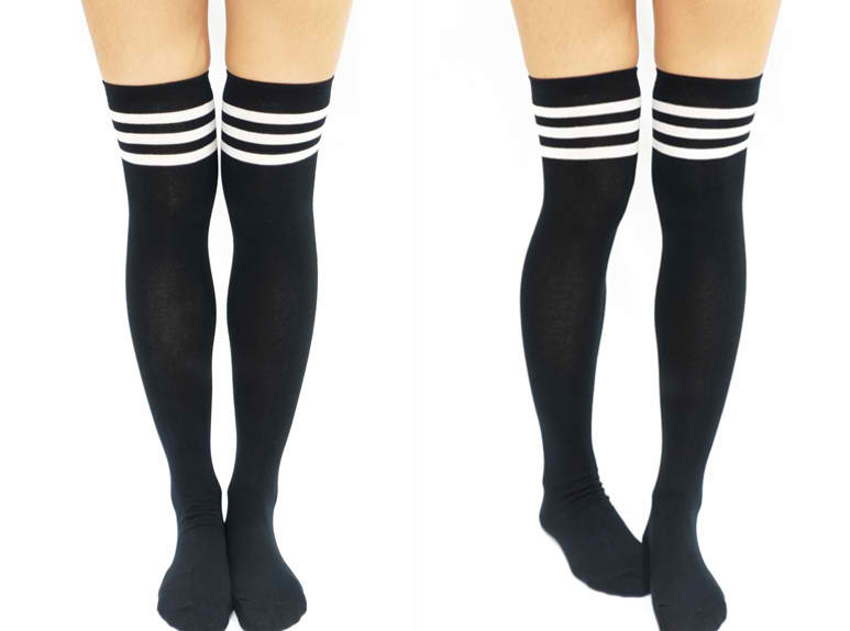 and thigh stockings white Black high