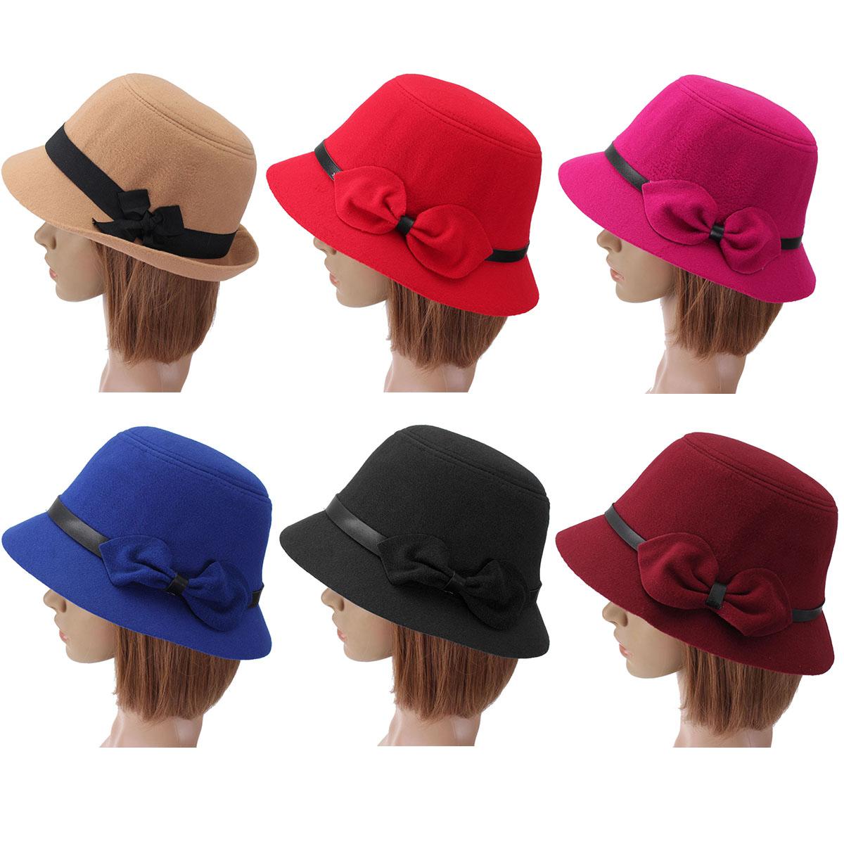 Women Ladies Bow Wool Imitation Fedora Bucket Cap Felt Wide Brim Bowler  Cloche Hat 9531c967adde