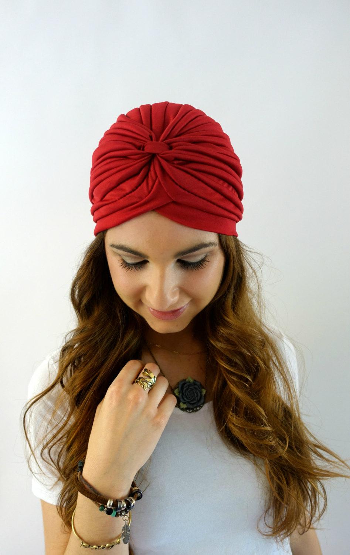 Red turban cap women s turban hat f8b3d845a
