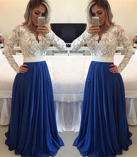 White Lace Royal Blue Skirt Long Prom Dresseslong Sleeves V Neck