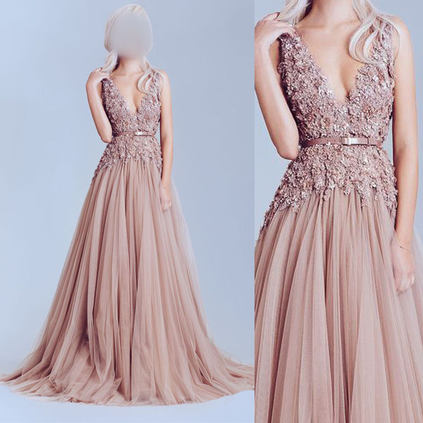 Dusty pink prom dress, tulle prom dresses, lace prom dresses, long ...
