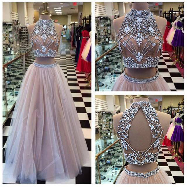 High Neck Two Pieces Prom Dress A-line Champagne Tulle Beaded Bodice Formal  Dress APD1632 f299f3b66