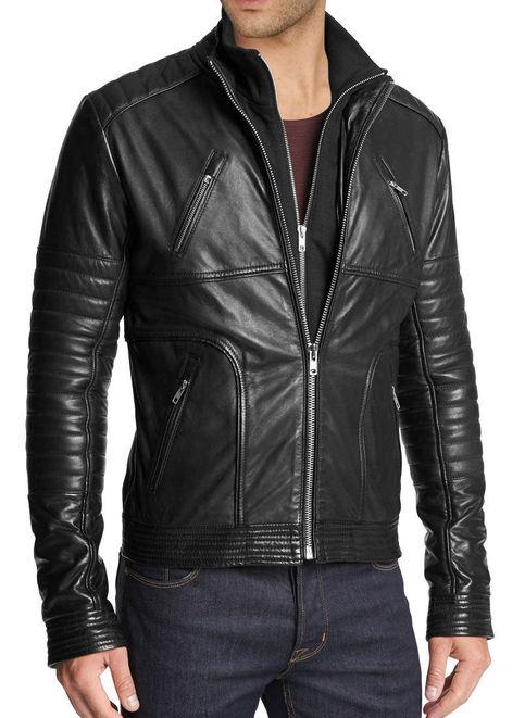 Handmade Mens Fashion Biker Leather Jacket Men Hollywood