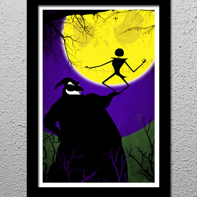 Nightmare before christmas - oogie boogie - jack skellington - original minimalist art poster print