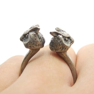 Realistic Double Owl Bird Totem Open Band Ring in Silver | US Size 6 or 7