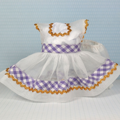 Special edition dress & panty set-white organdy with lavender check