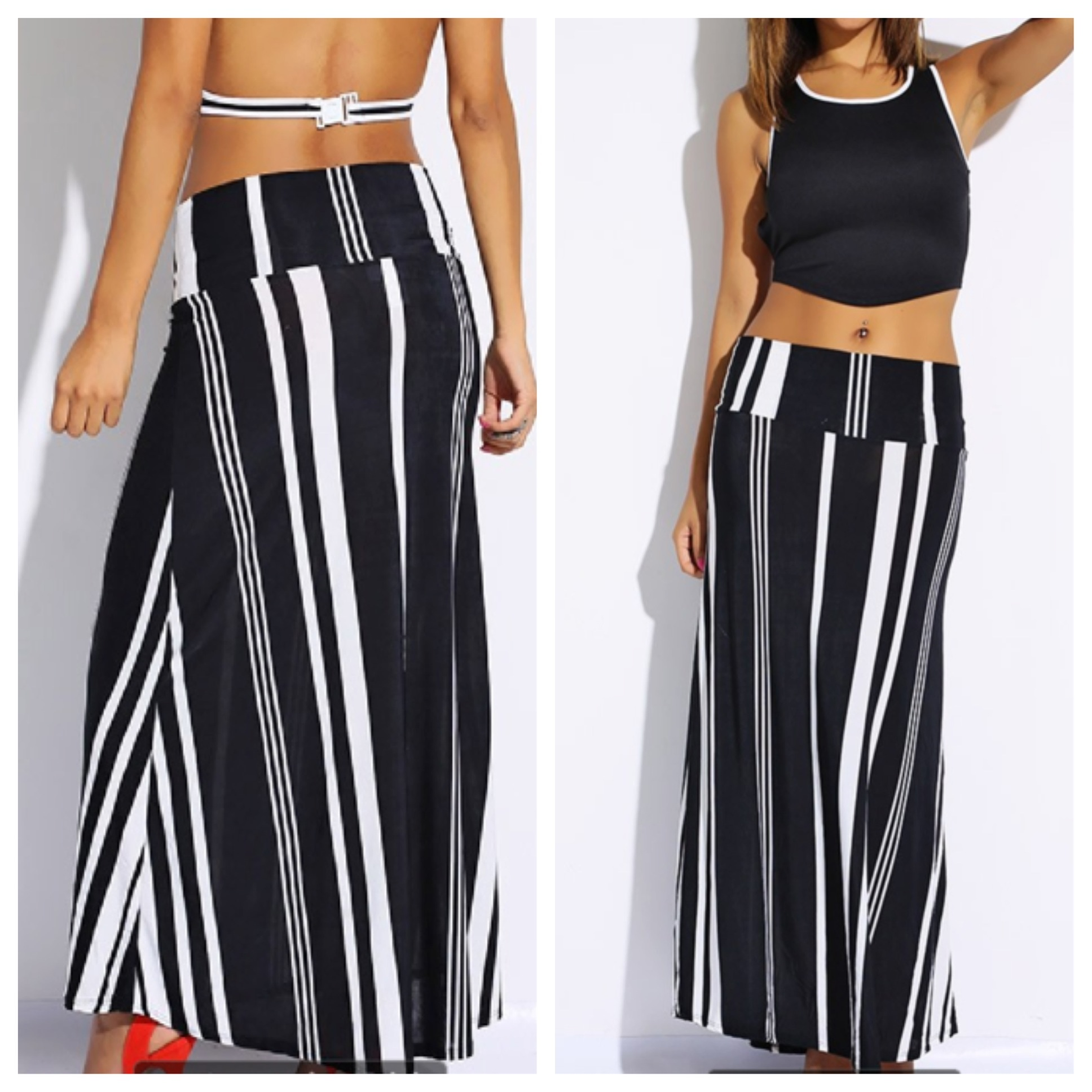 favord boutique black and white stripe maxi skirt