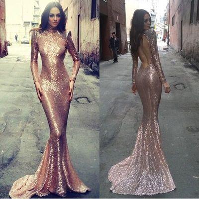 fe7f948d3cdc Long sleeve mermaid prom dress, rose gold prom dresses, sequin prom dresses,  backless