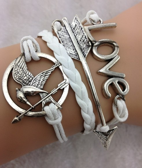 White Hunger Games themed bracelet set
