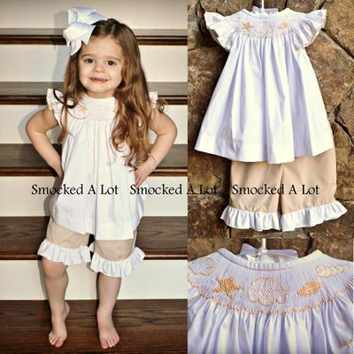 Smocked seashell beach ruffled shorts set- white/khaki