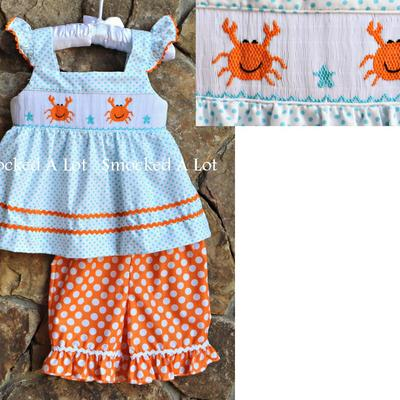 Smocked crab beach ruffled shorts set- aqua/white/orange polka dots
