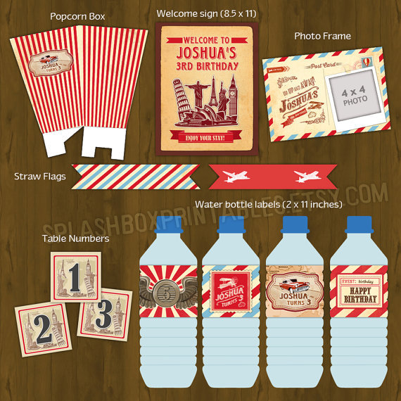 Vintage travel printable birthday party decorations for Around the world party decoration ideas