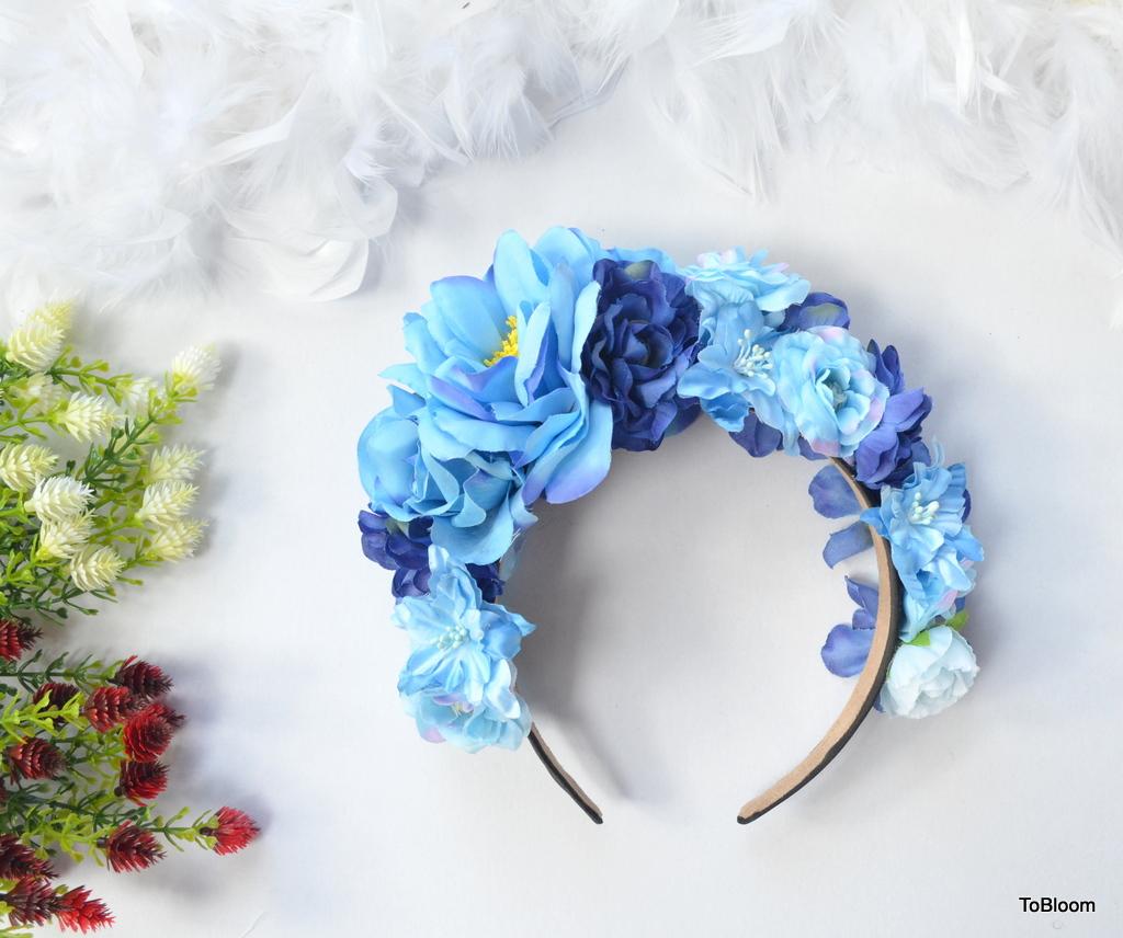 Blue Flowers Headband Beautiful Adult Headband Summer Headband