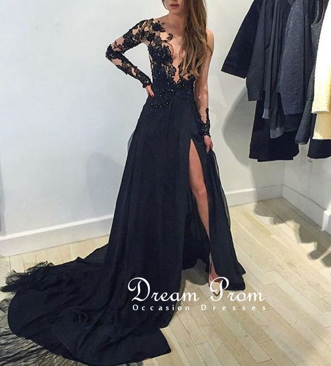 Amazing Luxury Prom Dress, Black Lace Long Sleeve Prom Dress,Evening ...