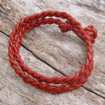 Red Braided Leather Wrap Bracelet