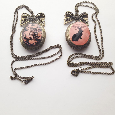 Bronze pink black bunny rabbit owl locket long chain necklace pastel goth bow victorian