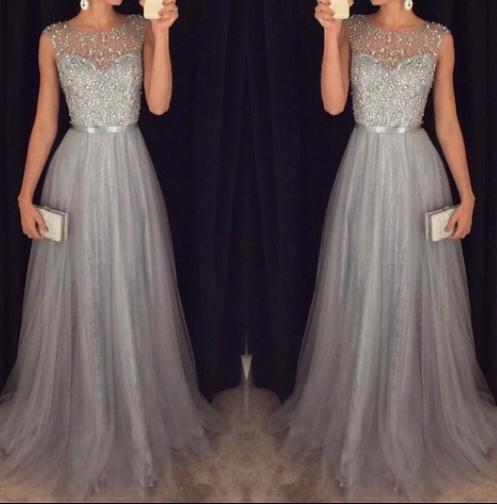 Formal Dress | Sparkly Gray A-line Long Prom Dress,Formal Dresses ...
