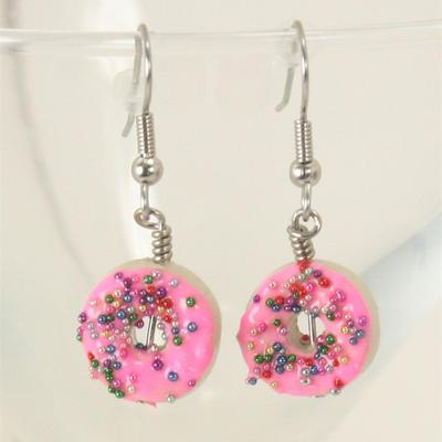 Doughnut dangle earrings - pink or shimmer blue - kitschy food handmade bakery