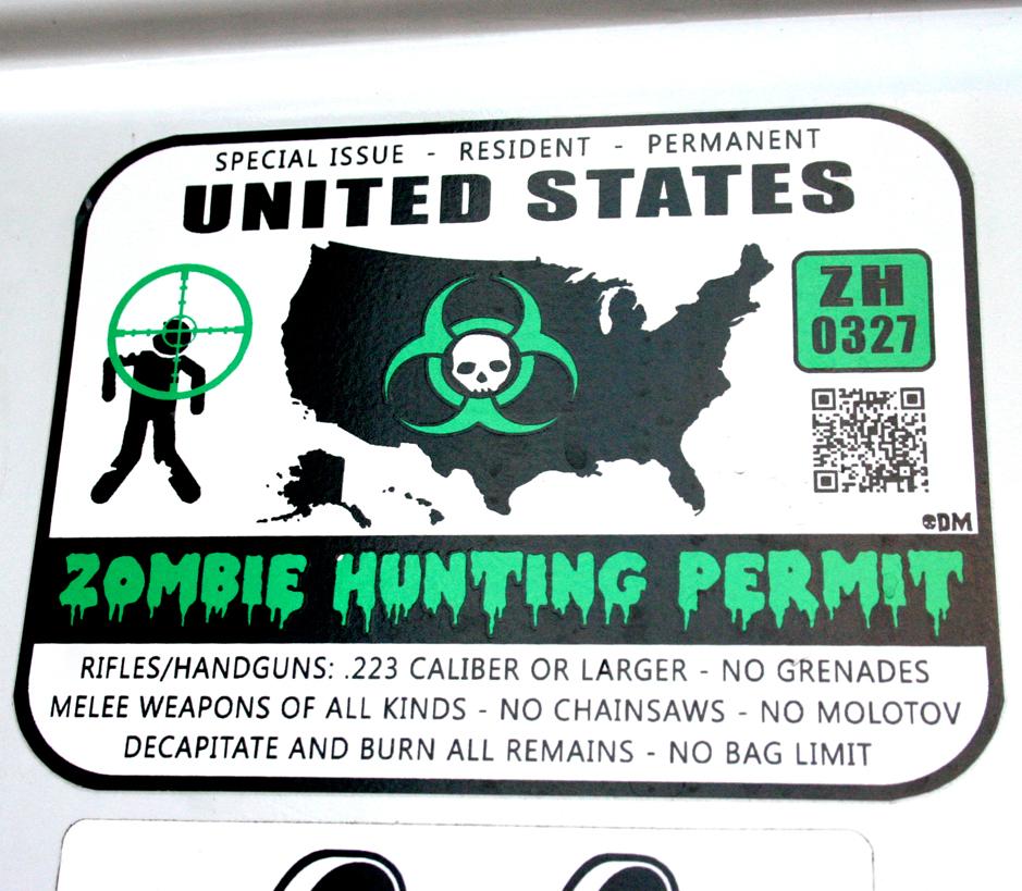 United States Zombie Hunting Permit Green Custom Large Vinyl - Custom large vinyl stickers