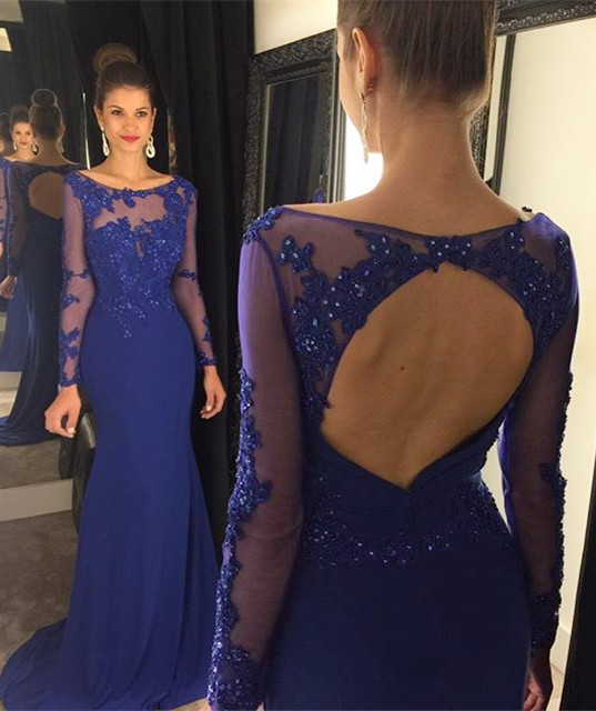 Open back prom dresses, long sleeve prom dress, Royal blue prom ...