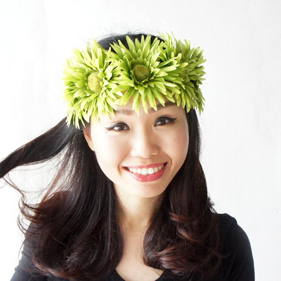 Green Flower Headband Daisy Headband Sunflower Headband Adult
