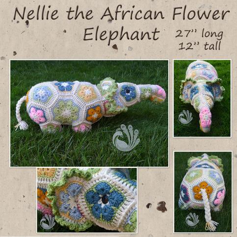 Nellie the African Flower Crocheted Elephant on Storenvy