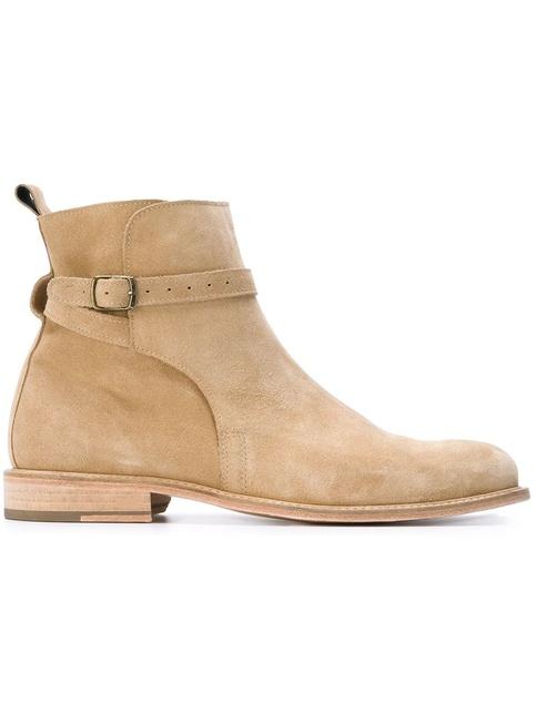 Handmade Mens Beige Color Jodhpurs Suede Leather Boots
