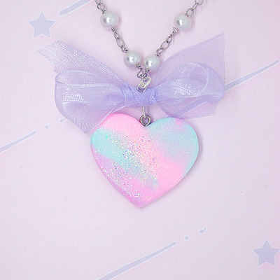 Marble pastel heart with bow♡01