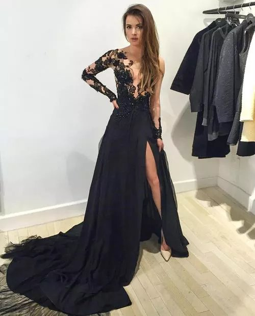 Hot Sales Long Lace Prom Dresses,Front Split Evening Dresses,Real ...