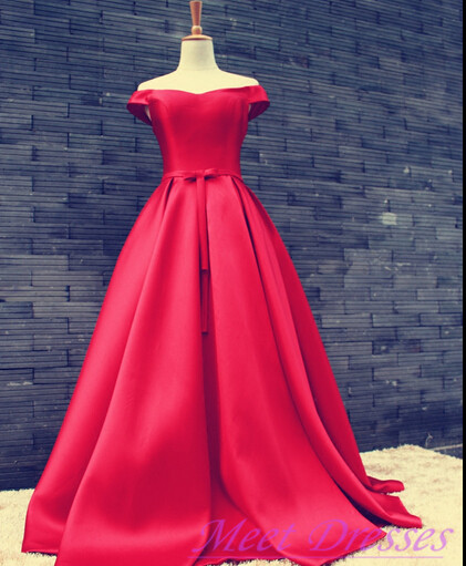 Simple Ball Gown Off The Shoulder Red Satin Prom Dress Fitted Corset