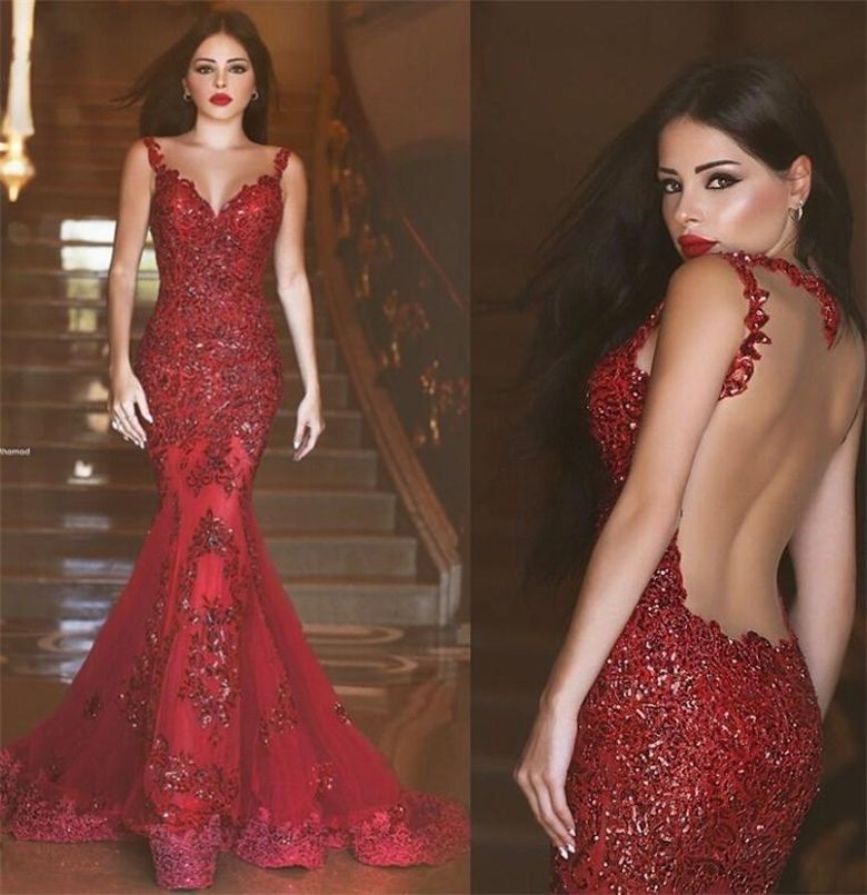 red backless prom dresses, sexy prom dress, long prom dress ...