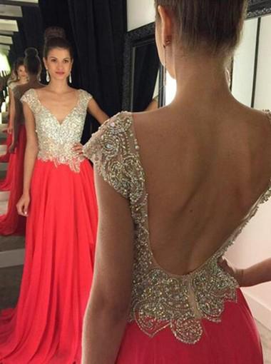 Beaded Bodice a Line Chiffon Prom Dresses