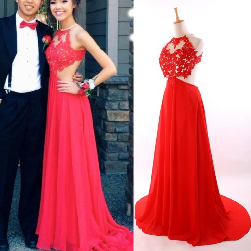 Red prom dress, Backless prom dress, Sexy prom dresses, Lace prom ...