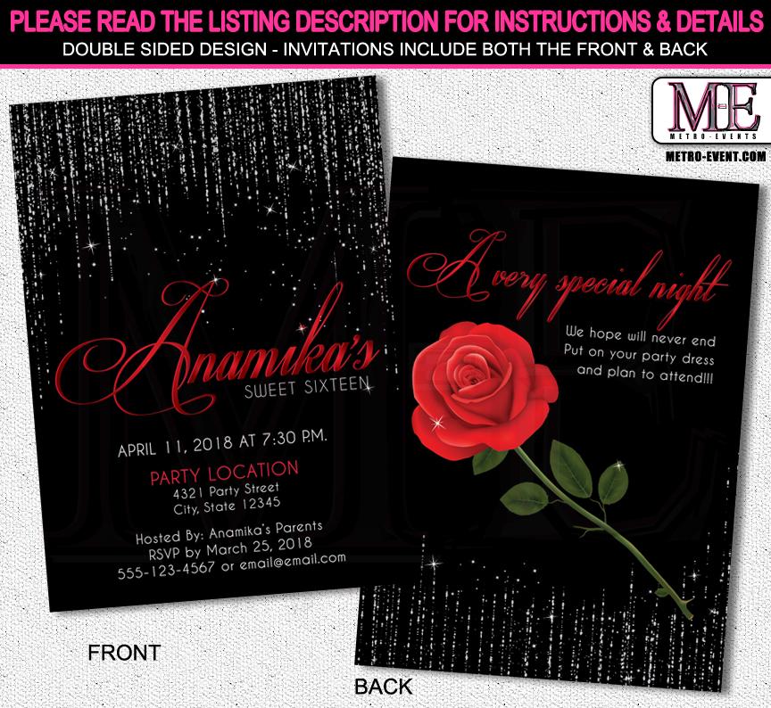 Red Rose Sweet 16 Birthday Invitations – Sweet 16 Birthday Invites