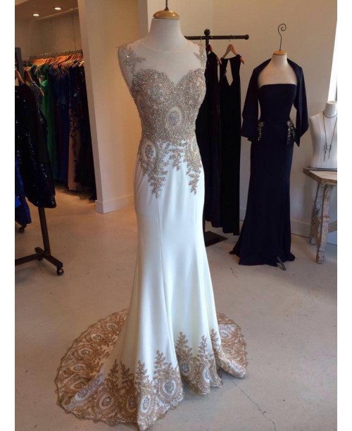 Gold Lace Appliqued Mermaid Prom Dresses Ivory Jersey Sweep Train
