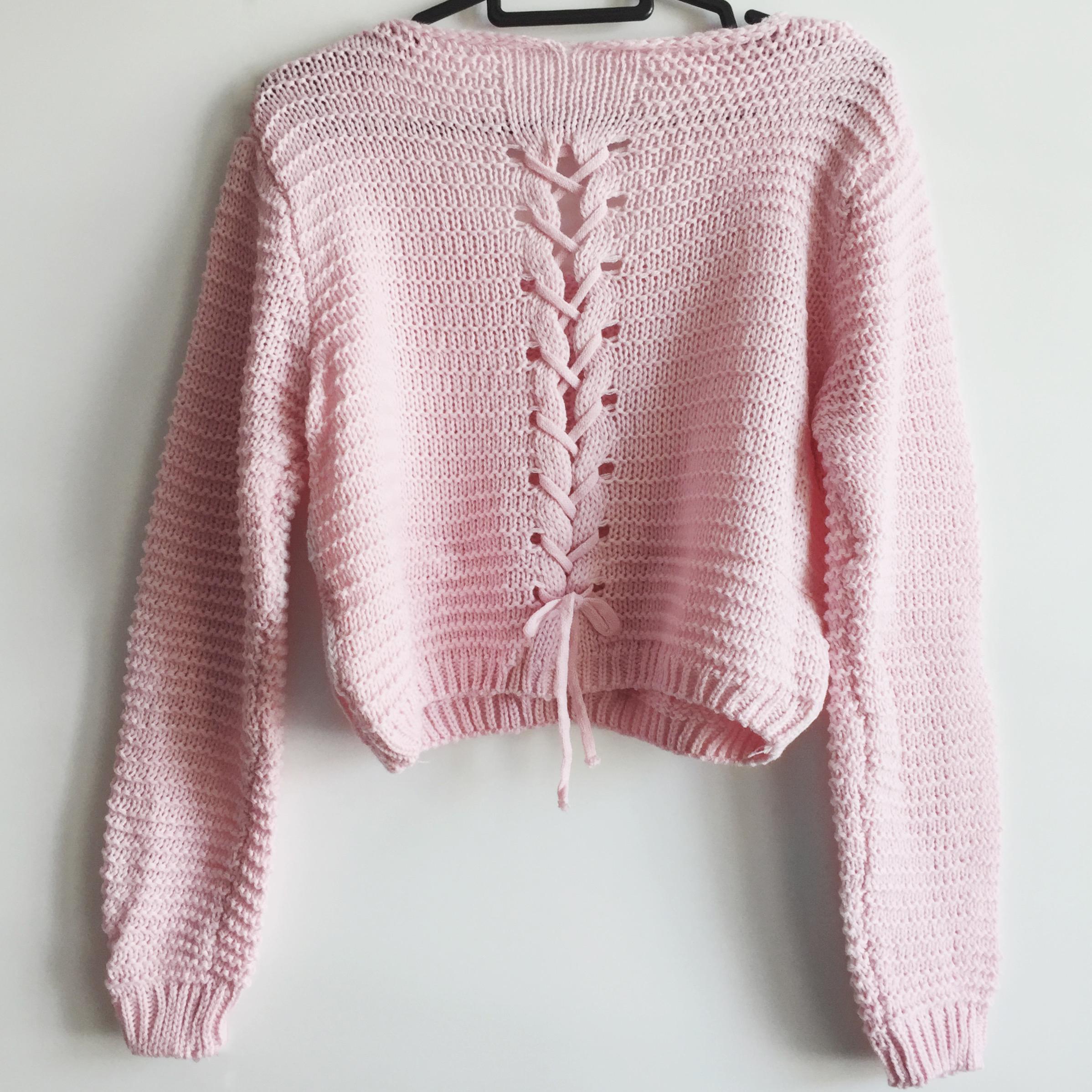 Lace Up Back Cropped Knit Sweater (Pink) · Megoosta Fashion · Free ...