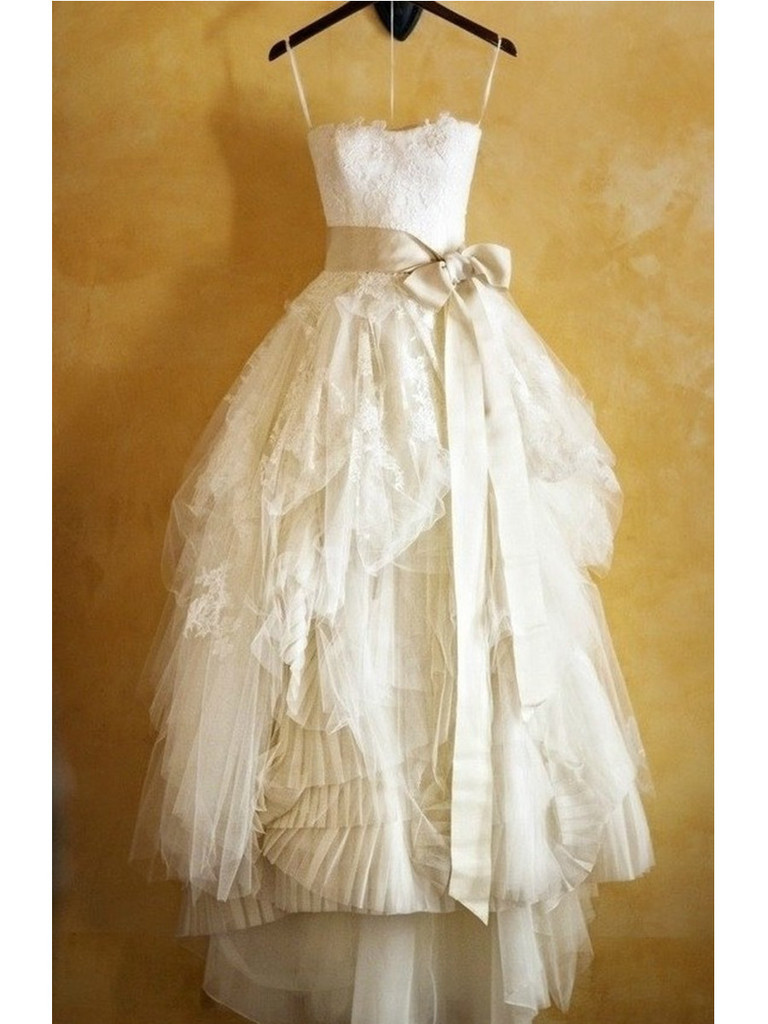 Spaghetti Strap Bowknot Sash A-line Wedding Dress,bridal gown,cheap ...