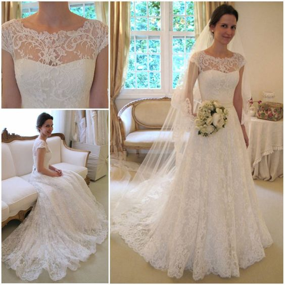 Shedress Capped sleeves sweep train aline lace wedding dress