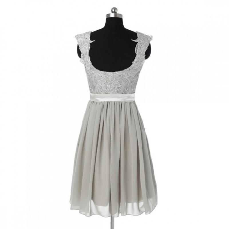 Gray bridesmaid dress, lace bridesmaid dresses, short bridesmaid ...