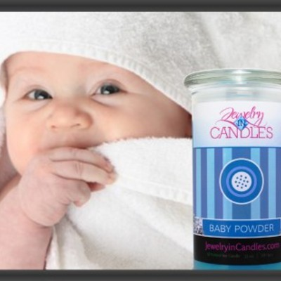 Baby powder jewelry candle